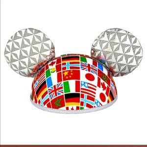 NWT Disney Ears Hat Epcot Flags - Spaceship Earth